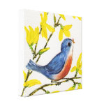 Cute Singing Blue Bird Tree Stretched Canvas Prints