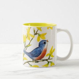 Cute Singing Blue Bird Tree Mugs