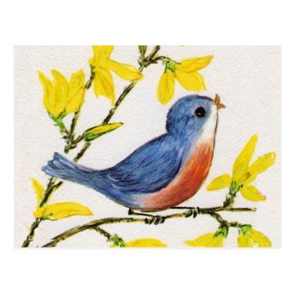 Cute Singing Blue Bird Tree Postcard