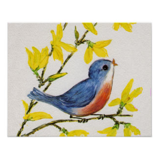 Cute Singing Blue Bird Tree Poster