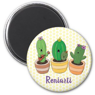 Cute singing cactus trio cartoon illustration magnet