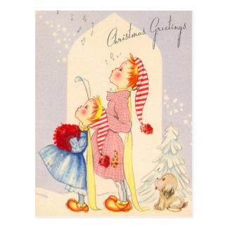 Cute Singing Christmas Carolers Postcard