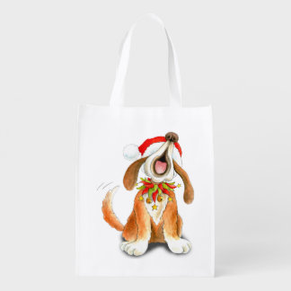 Cute singing dog watercolor art Christmas bag