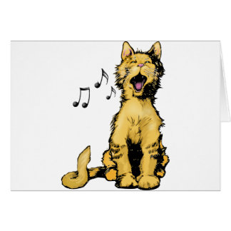 Cute singing orange cat drawing with musical notes greeting card