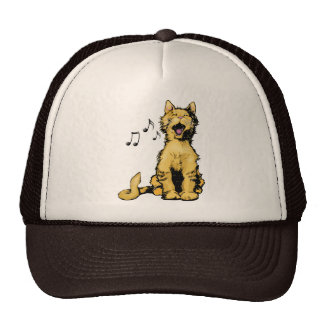 Cute singing orange cat drawing with musical notes hat
