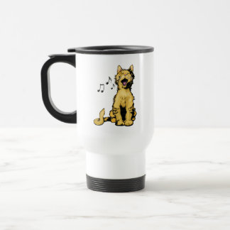 Cute singing orange cat drawing with musical notes coffee mug