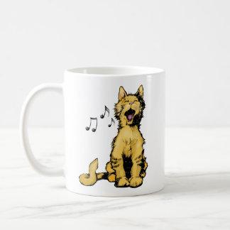 Cute singing orange cat drawing with musical notes mugs