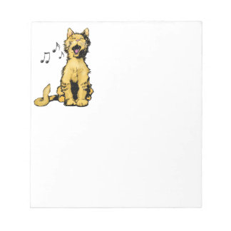 Cute singing orange cat drawing with musical notes scratch pads
