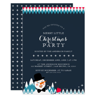 Cute Singing Snowman & Christmas Typography Party Card