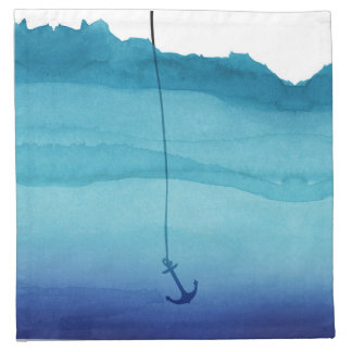 Cute Sinking Anchor in Sea Blue Watercolor Napkin