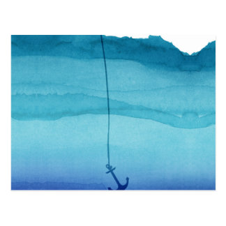 Cute Sinking Anchor in Sea Blue Watercolor Postcard
