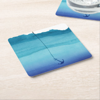 Cute Sinking Anchor in Sea Blue Watercolor Square Paper Coaster