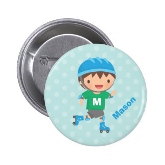 Cute Skater Boy Roller Skating 6 Cm Round Badge
