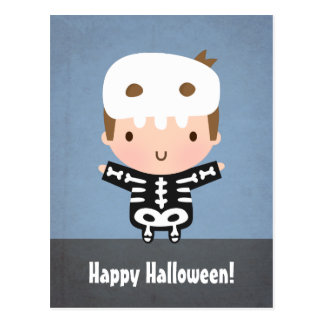 Cute Skeleton Boy Kids Not So Scary Halloween Postcard