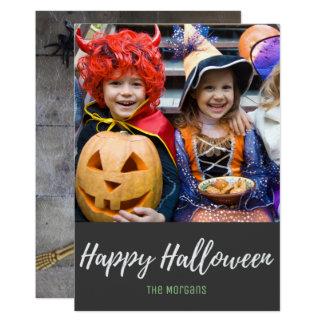 Cute Skeleton Candy Corn Halloween Photo Card