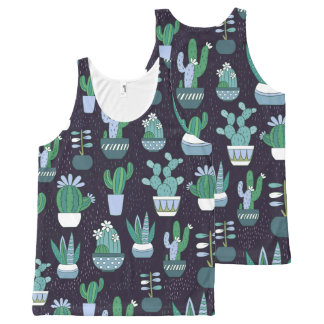 Cute sketchy illustration of cactus pattern All-Over print tank top