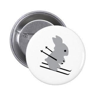 cute ski bunny  snow skiing 6 cm round badge