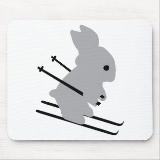cute ski bunny  snow skiing mouse pad