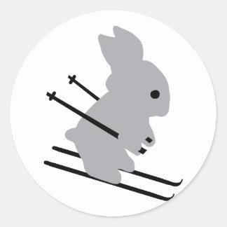 cute ski bunny snow skiing round sticker