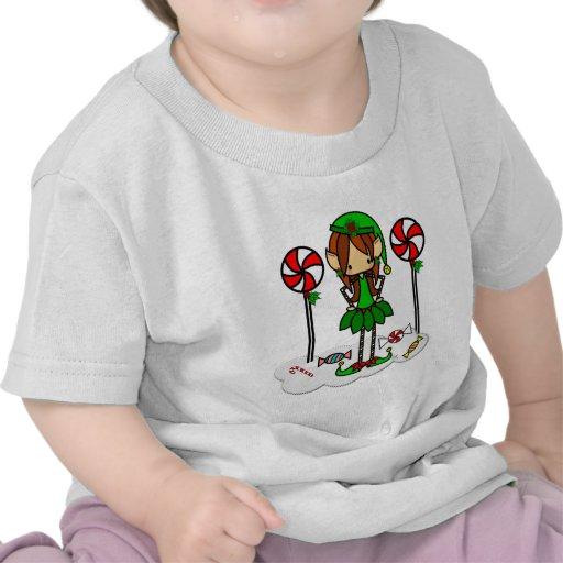 Cute skinny elf Christmas girl Tee Shirt