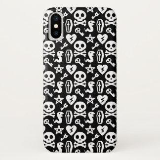 Cute Skull And Crossbone Halloween Pattern iPhone X Case