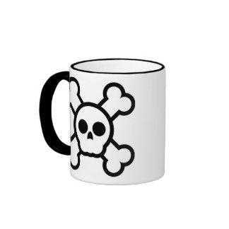 cute skull and crossbones ringer coffee mug