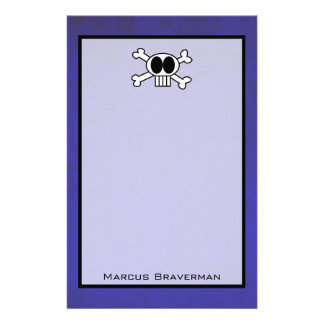 Cute Skull and Crossbones on Purple Background Stationery