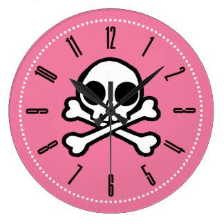 Cute Skull And Crossbones Pink Clocks