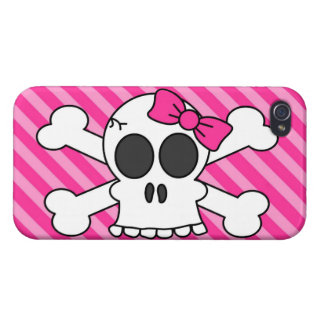 Cute Skull and Crossbones Pink Stripes Cover For iPhone 4