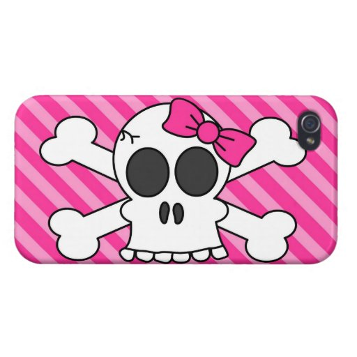 Cute Skull and Crossbones Pink Stripes iPhone 4 Covers