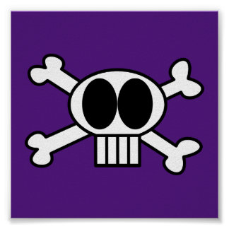 Cute Skull and Crossbones with Big Black Eyes Poster