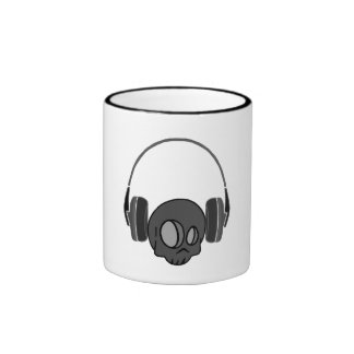 Cute Skull And Headphones Ringer Mug