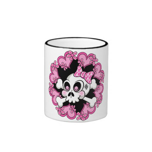 Cute Skull and Hearts Coffee Mug