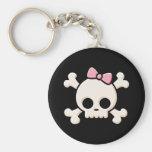 Cute Skull Girl Basic Round Button Key Ring