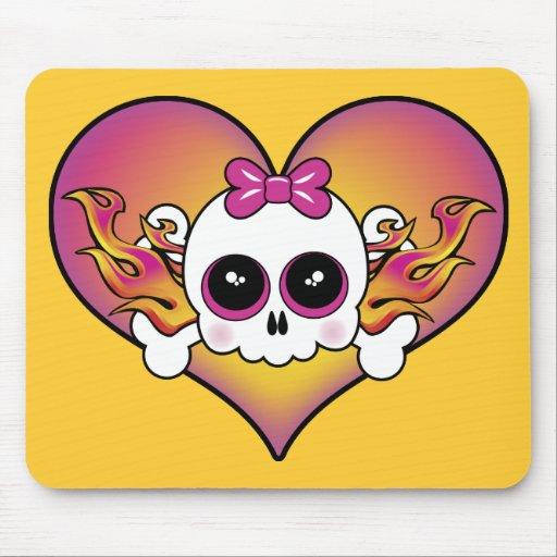 Cute Skull Heart Mouse Pad