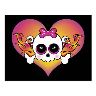 Cute Skull Heart Postcard