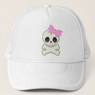 Cute Skull n Crossbones with Bat Bow Trucker Hat