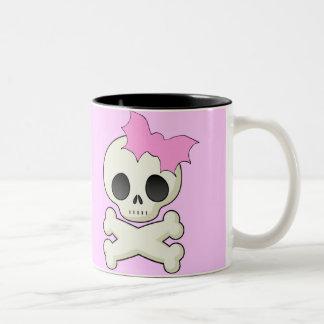 Cute Skull n Crossbones with Bat Bow Two-Tone Coffee Mug
