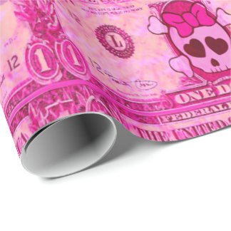 cute  skull,pink dollar wrapping paper