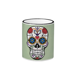 Cute Skull With Flowers Art Design Coffee Mugs