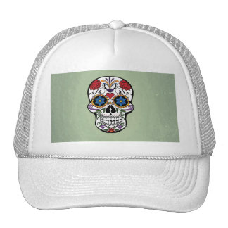 Cute Skull With Flowers Art Design Hat