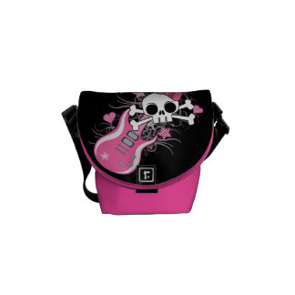 Cute Skull with Pink Guitar Courier Bag