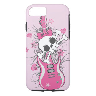Cute Skull with Pink Guitar iPhone 7 Case