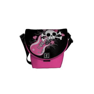 Cute Skull with Pink Guitar Messenger Bag