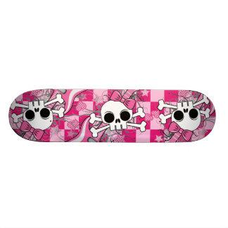 Cute Skull with Pink Guitar Skate Board Decks