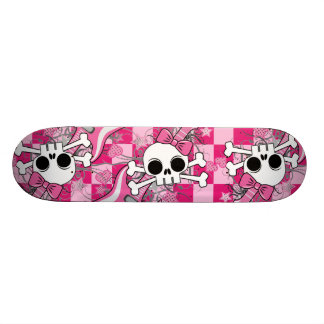 Cute Skull with Pink Guitar Skate Deck