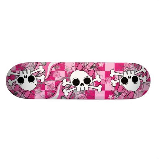 Cute Skull with Pink Guitar Skate Deck