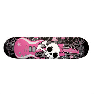 Cute Skull with Pink Guitar Skateboards