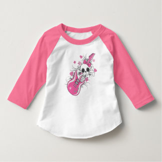 Cute Skull with Pink Guitar Tee Shirts
