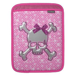 Cute Skull with Ribbon Pink iPad Sleeve